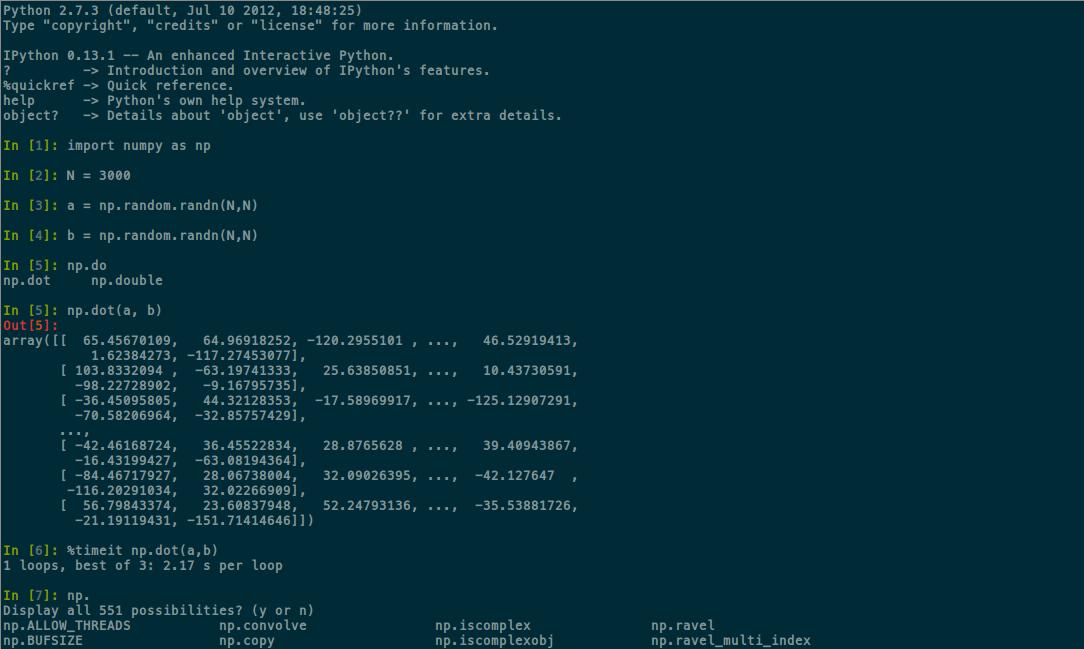 iPython in terminal screenshot